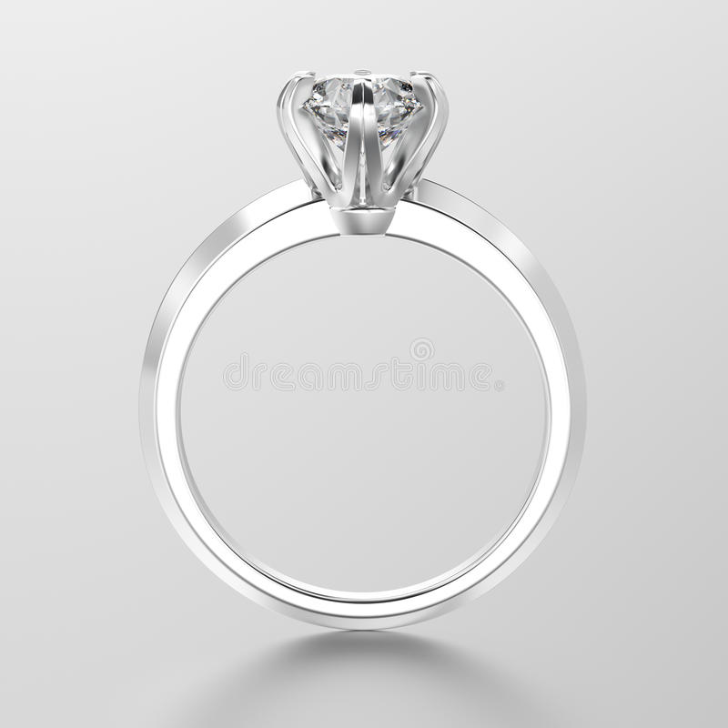 3D illustration white gold or silver traditional solitaire engagement ring with diamond stock illustration