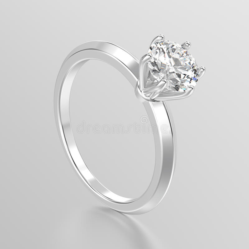 3D illustration white gold or silver traditional solitaire engagement ring with diamond royalty free illustration