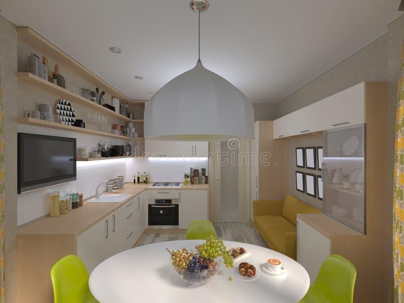 3D illustration of the white kitchen. 3D render of the white kitchen royalty free illustration