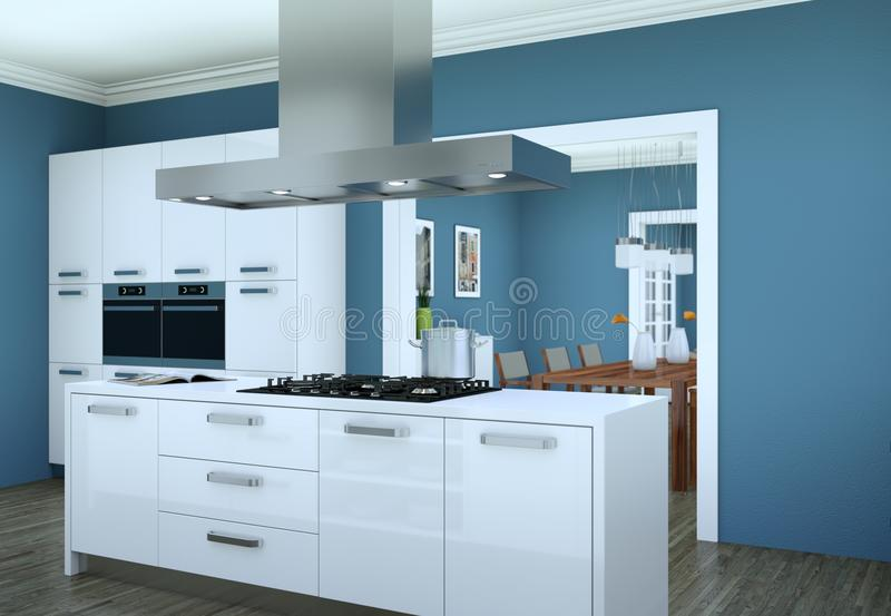 White modern kitchen in a flat with beautiful design stock photos