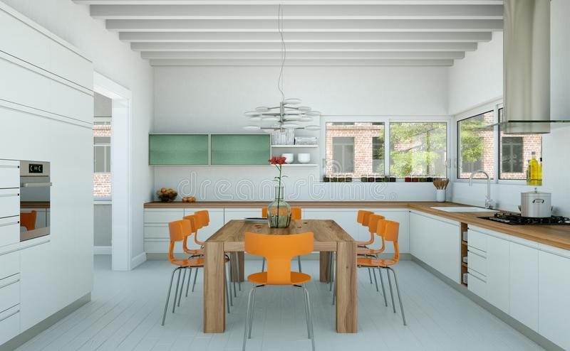 White modern kitchen in a house with orange chairs and wooden table. 3d Illustration of white modern kitchen in a house with orange chairs and wooden table stock illustration