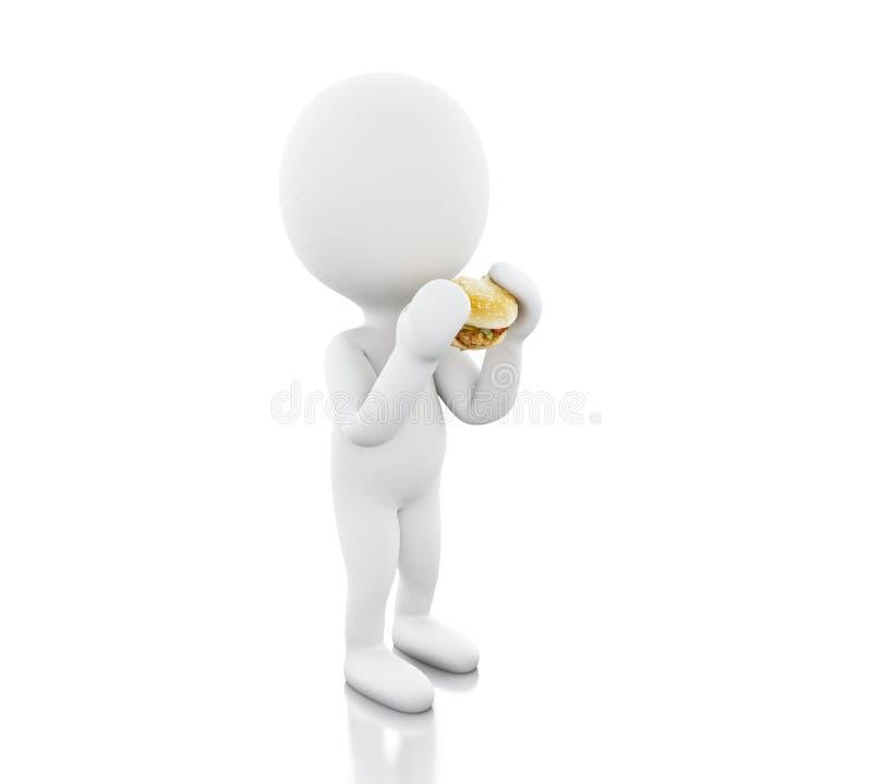3d White people eats the big hamburger. vector illustration
