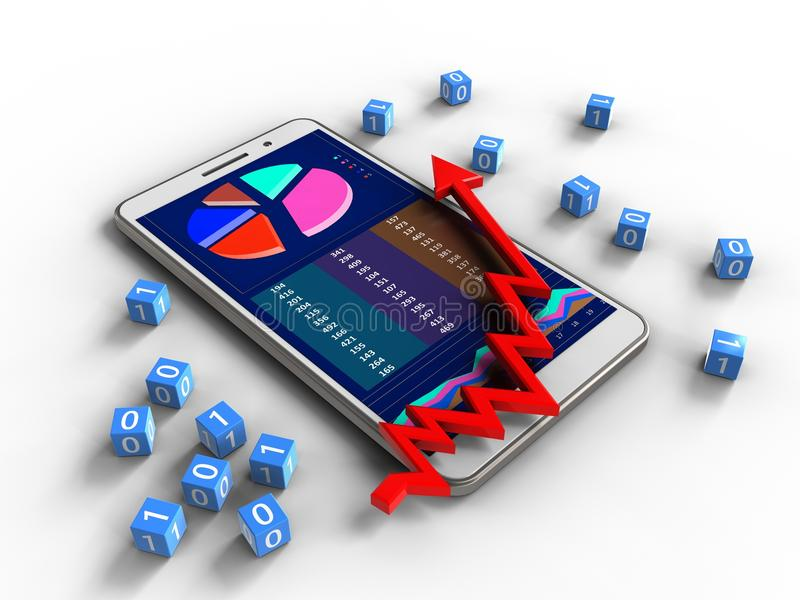 3d arrow chart. 3d illustration of white phone over white background with binary cubes and arrow chart stock illustration