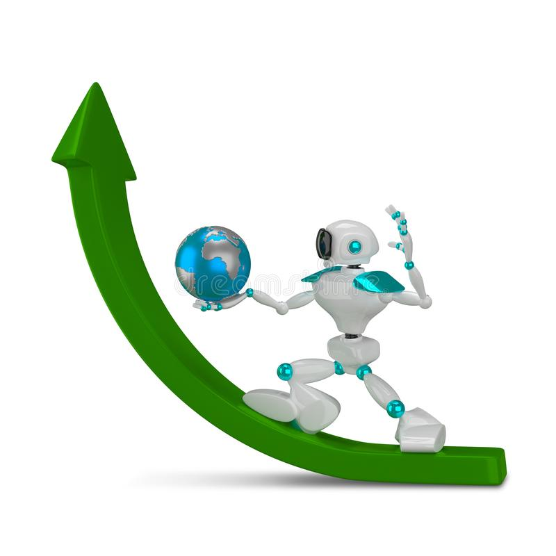 3D Illustration White Robot with Globe on Green Arrow royalty free illustration