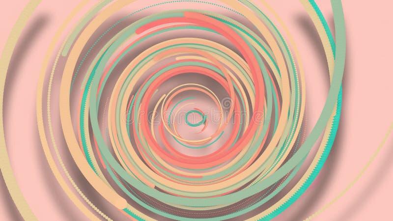 3D Illustration, 3D Wiedergabe, abstrakter geometrischer Hintergrund, Linien die Kreispunkte sind zusammen sehr nah Bis das Sehen lizenzfreie abbildung