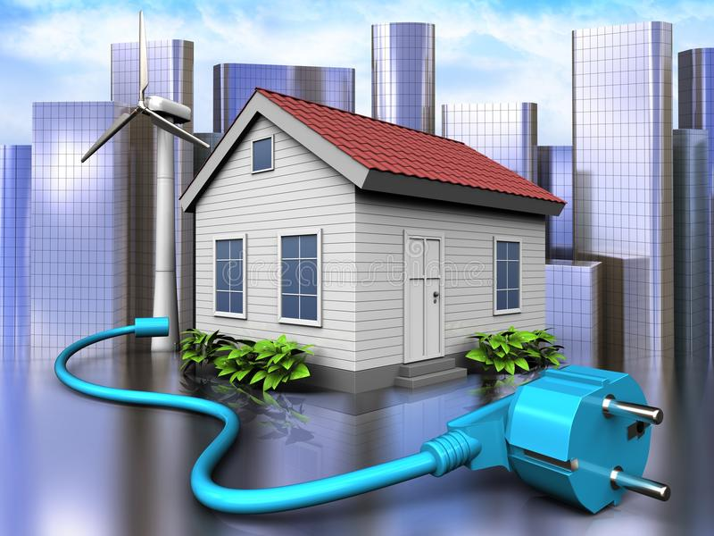 3d cable over city. 3d illustration of wind energy house with cable over city background vector illustration