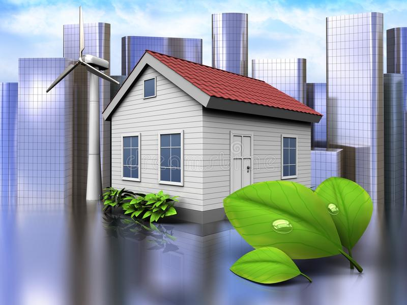 3d leafs over city. 3d illustration of wind energy house with leafs over city background royalty free illustration