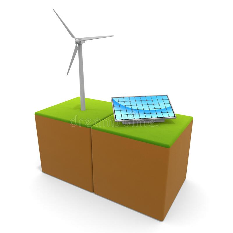 3D illustration. Wind power and solar panels. Think about the natural environment. Eco system. vector illustration