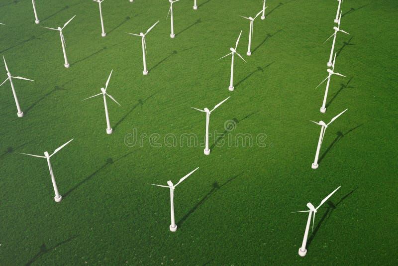 3d Illustration, Windkraftanlage mit blauem Himmel Energie und Strom Alternative Energie, eco oder grüne Generatoren leistung stock abbildung