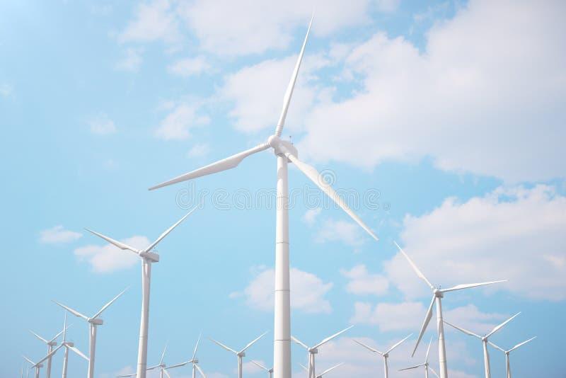3d Illustration, Windkraftanlage mit blauem Himmel Energie und Strom Alternative Energie, eco oder grüne Generatoren leistung lizenzfreie abbildung