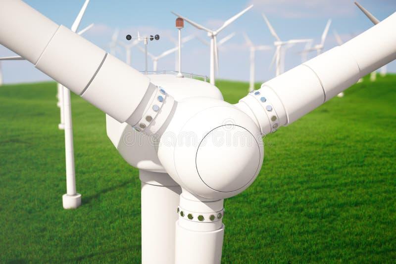 3d Illustration, Windkraftanlage mit blauem Himmel Energie und Strom Alternative Energie, eco oder grüne Generatoren leistung vektor abbildung