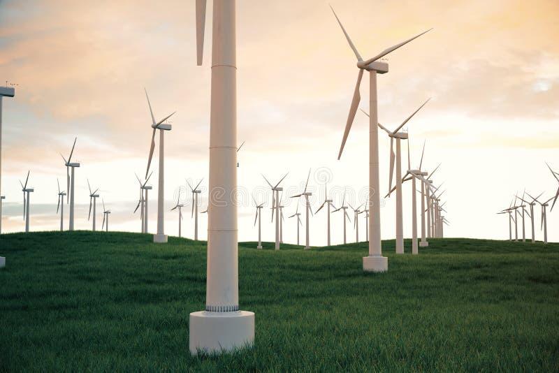 3d Illustration, Windkraftanlage mit Sonnenunterganghimmel Energie und Strom Alternative Energie, eco oder grüne Generatoren vektor abbildung