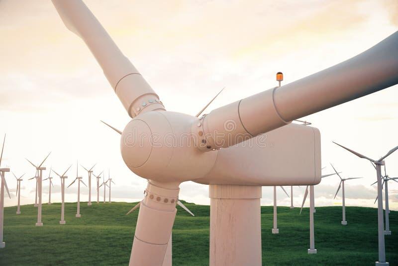 3d Illustration, Windkraftanlage mit Sonnenunterganghimmel Energie und Strom Alternative Energie, eco oder grüne Generatoren lizenzfreie abbildung