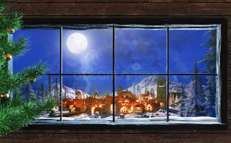 3d Illustration of winter christmas scene through wood cabin window vector illustration
