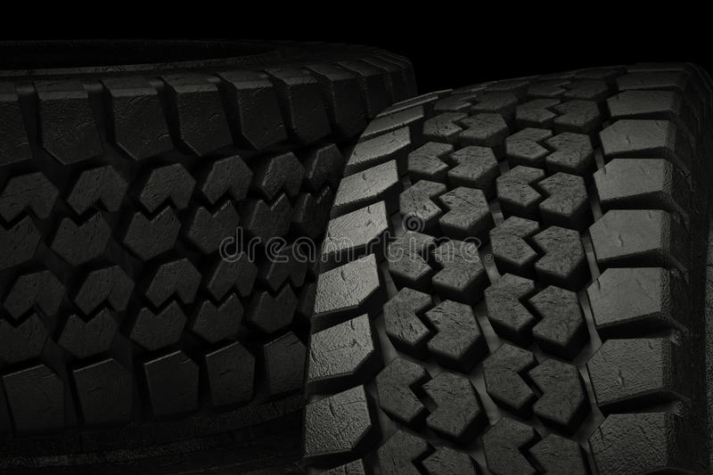 3d illustration winter tires close up stock illustration