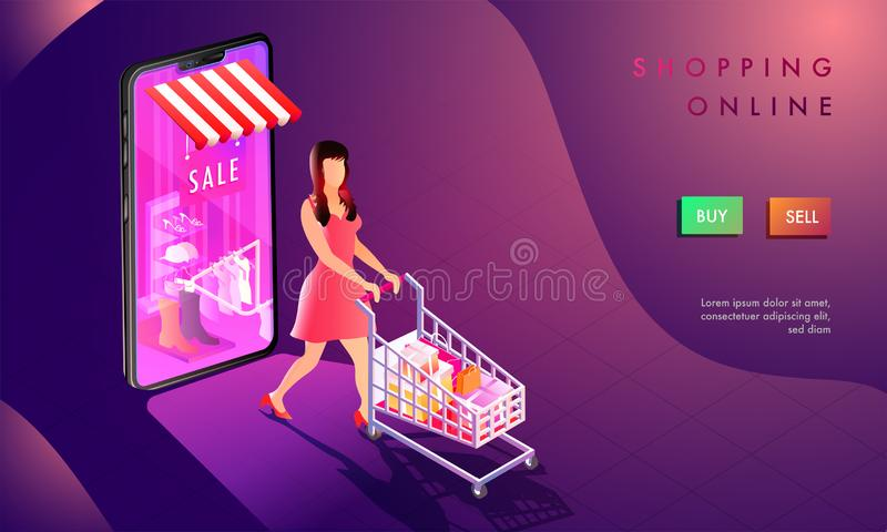3d illustration of woman shop online, smartphone with online shopping store on abstract purple background. Responsive web. Template design for Online Shopping vector illustration