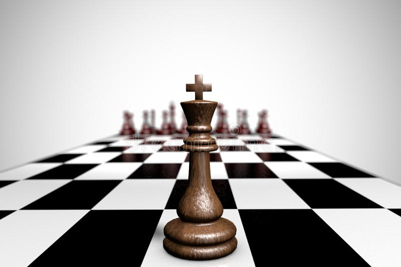 3d illustration wooden chess piece king. Close up stock illustration