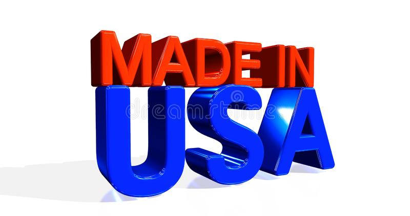 3D illustration of the word `MADE IN USA` on white background. 3D rendering. stock illustration