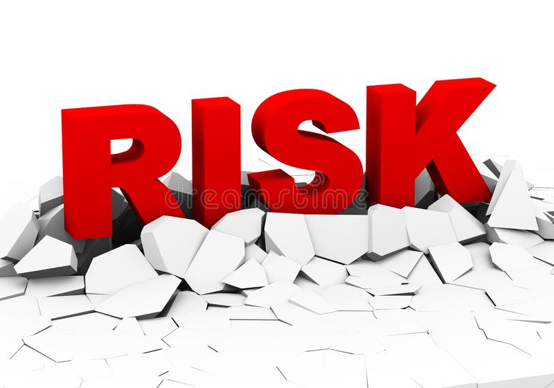 3d word risk on crack ground plane. 3d illustration of word text risk appearing from cracked broken ground plane royalty free illustration