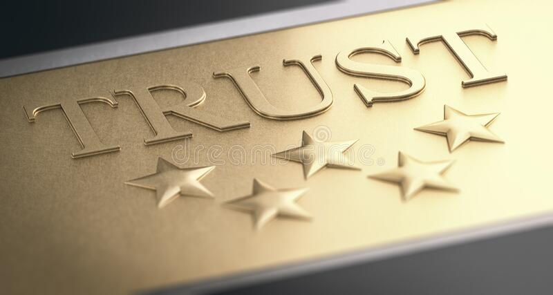 Trustworthy Company Concept. Golden Sign With Five Stars stock illustration