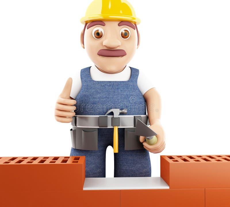 3d people building a brick wall. 3d illustration. Worker building a brick wall. Isolated white background stock illustration