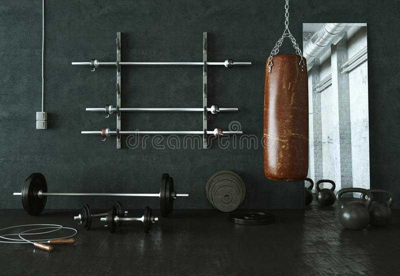 Workout Room with different Weight Lifting Equipment dumbbell, barbell, kettlebell. 3d Illustration of workout room with different Weight Lifting Equipment vector illustration