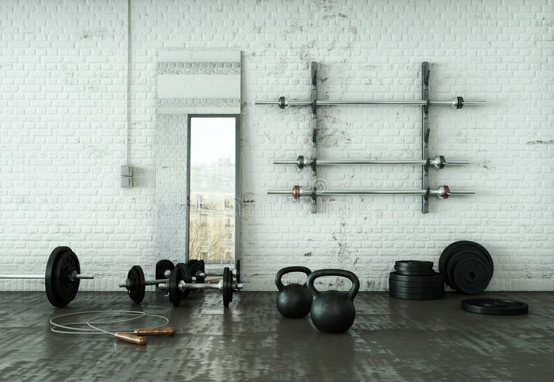 Workout Room with different Weight Lifting Equipment dumbbell, barbell, kettlebell. 3d Illustration of workout room with different Weight Lifting Equipment stock illustration