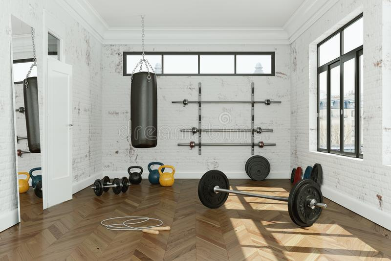 Workout Room with different Weight Lifting Equipment dumbbell, barbell, kettlebell. 3d Illustration of workout room with different Weight Lifting Equipment royalty free illustration