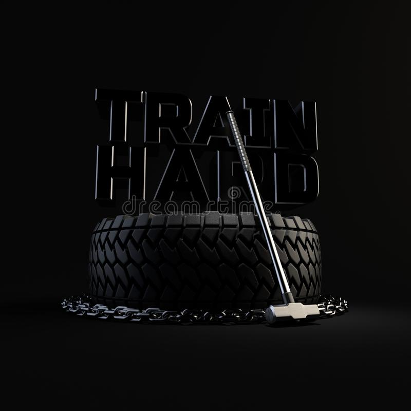 3d-illustration workout training equipment tire, chain and sledgehammer on black background. Inscription TRAIN HARD on. 3d-render workout training equipment tire stock illustration