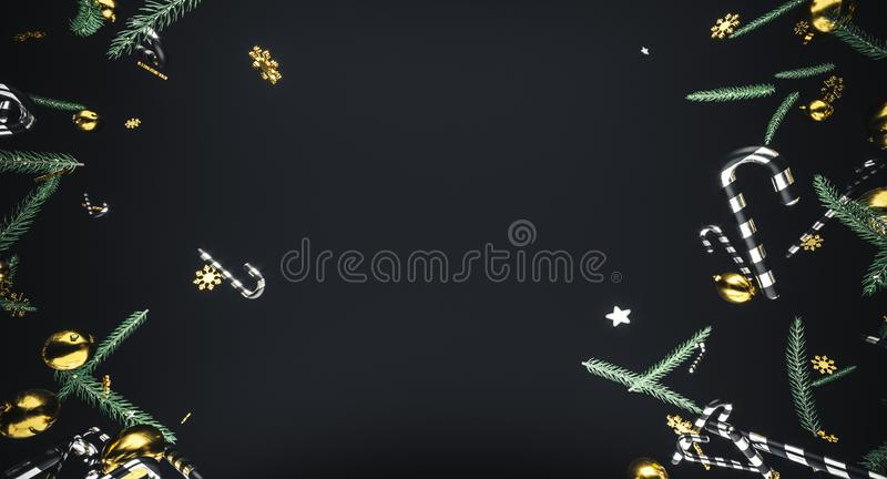 Merry Christmas and happy new year. Background with gift box. 3d illustration. Xmas decoration elements. 3d illustration. Xmas decoration elements. Merry royalty free stock photo