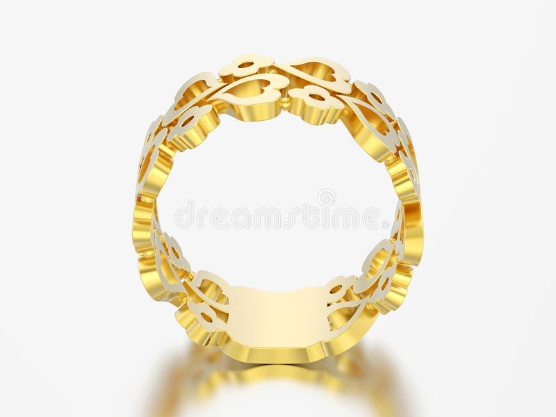 3D illustration yellow gold decorative curve out flowers and hearts ring stock illustration