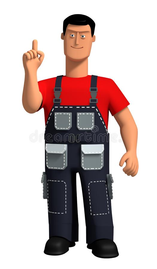 3d illustration Young man in a work overalls and a red T-shirt makes the gesture `attention`. Template for the designer. Character explaining the content royalty free illustration
