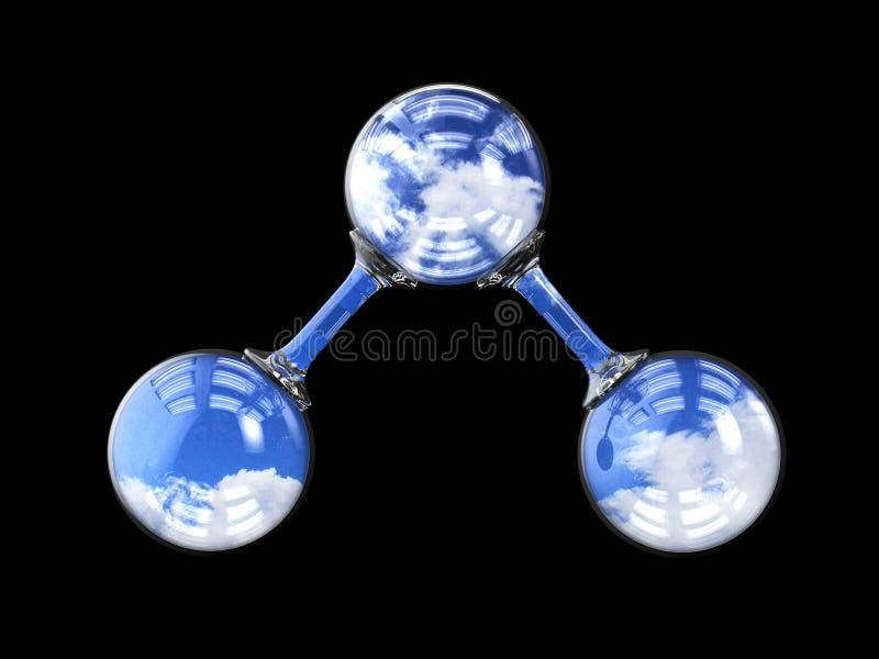3d illustrationen, molekyl av ozon isolerade svart royaltyfri illustrationer