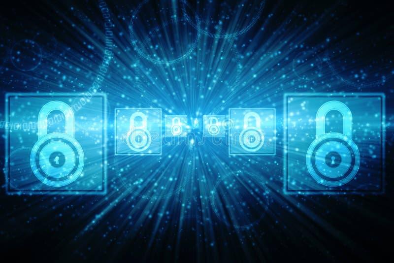 2d illustrationsäkerhetsbegrepp: Stängd hänglås på digital bakgrund, Cybersäkerhetsbakgrund royaltyfria foton