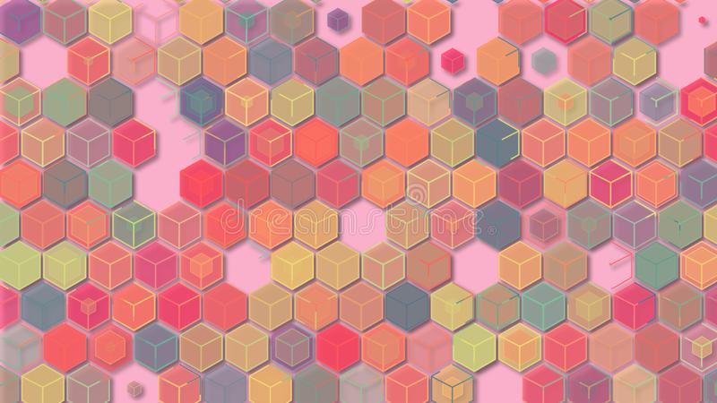 3D illustrations, abstract geometric backgrounds, light pink tones, colorful boxes stock illustration