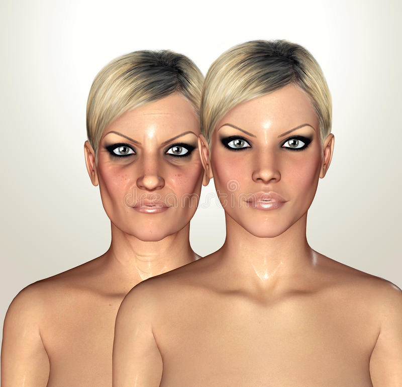 3d illustrations of female figures showing aging concept royalty free illustration