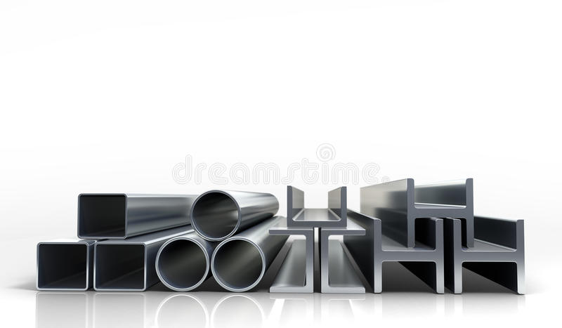 3d illustrations metal tubes and profiles isolated on whi. Te royalty free stock photography