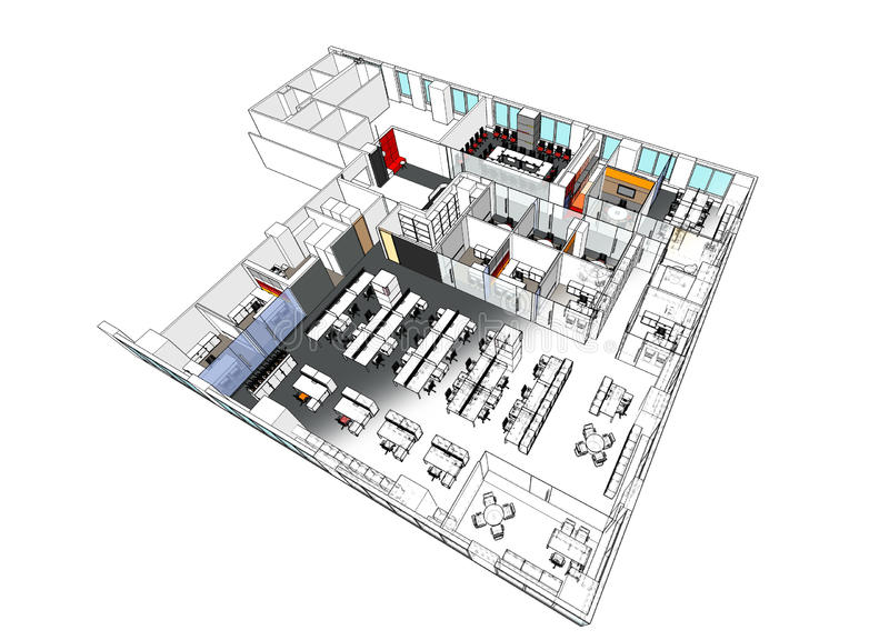 axonometric view of the sport hall stock illustration