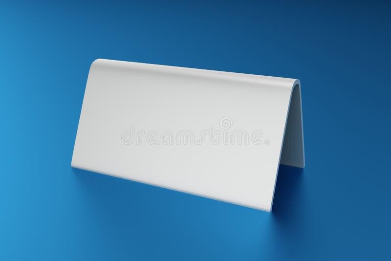 3D illustrazione - blu bianco del ob della carta della tabella in bianco illustrazione di stock