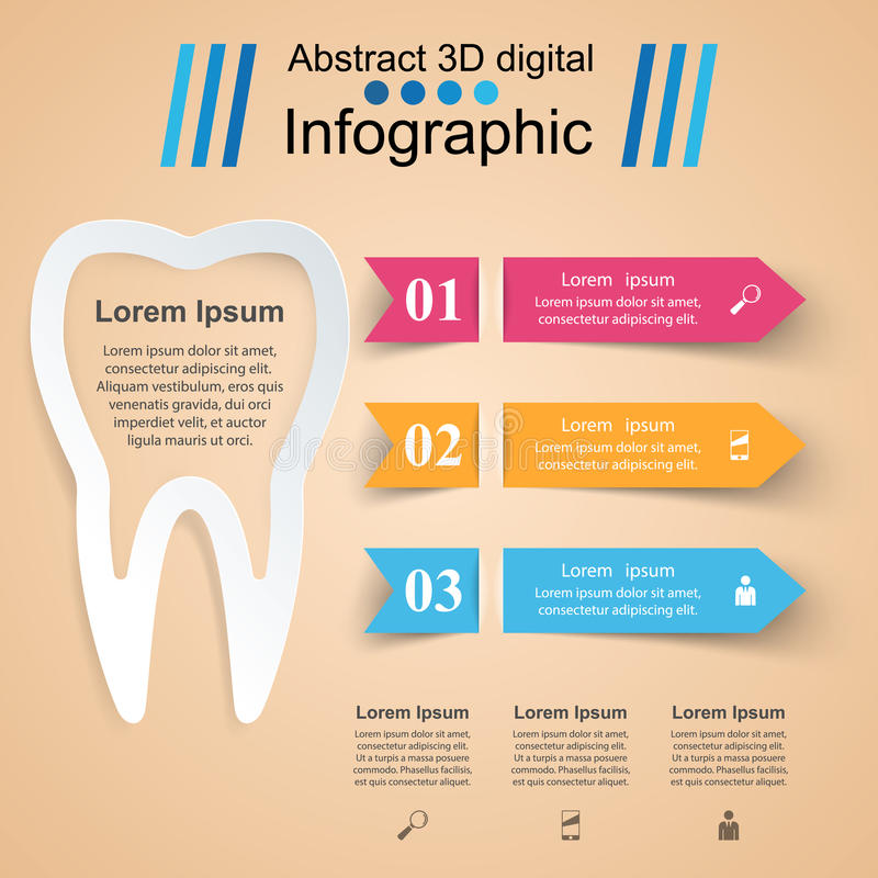 3D illustrazione digitale astratta Infographic Icona del dente illustrazione di stock