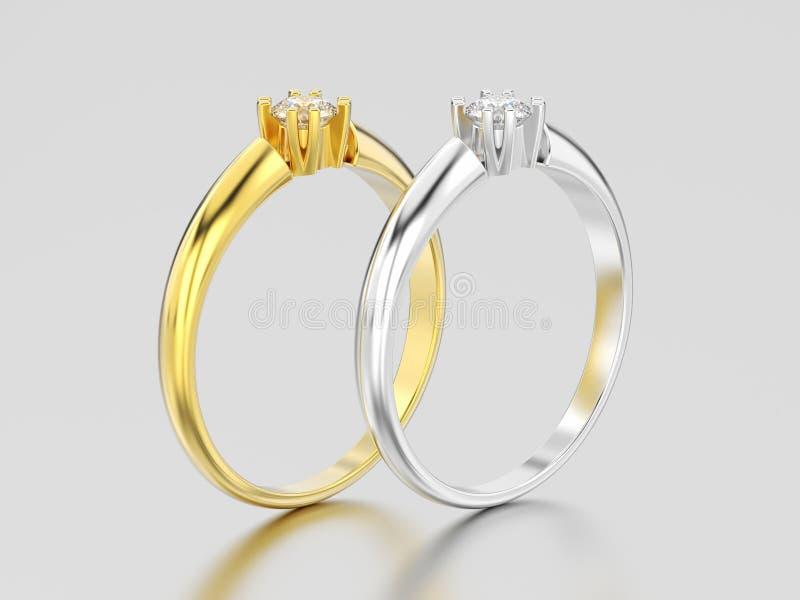 3D illustrazione impegno s dell'oro giallo e bianco di due o dell'argento illustrazione vettoriale