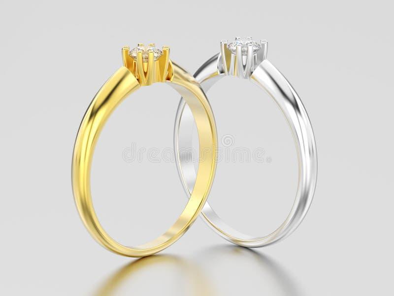 3D illustrazione impegno s dell'oro giallo e bianco di due o dell'argento illustrazione di stock
