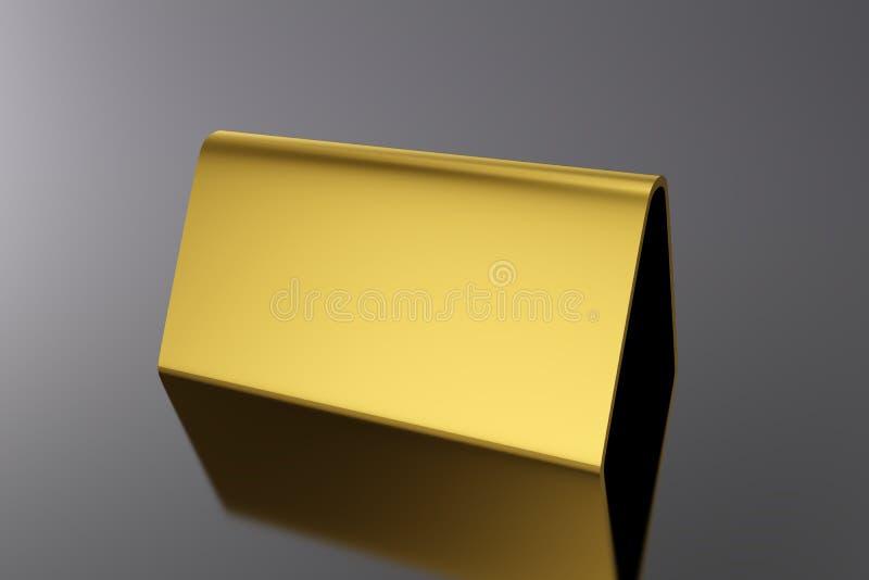 3D illustrazione - oro della carta della tabella in bianco sul nero royalty illustrazione gratis
