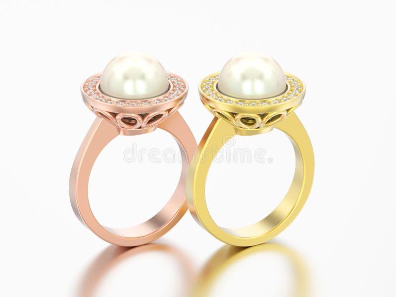 3D illustrazione wedd di impegno del diamante dell'oro rosa e giallo di due royalty illustrazione gratis