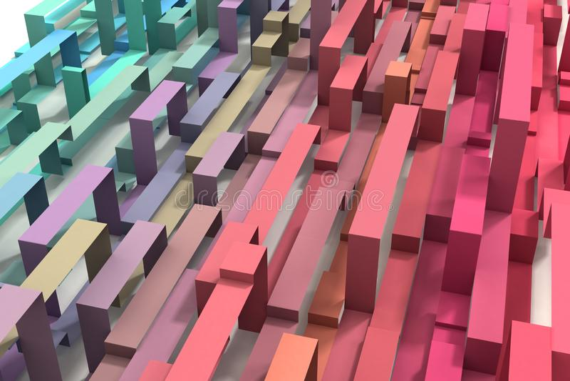 3D illustrerade kulör geometrisk bandbakgrund för den pastellfärgade regnbågen royaltyfria foton