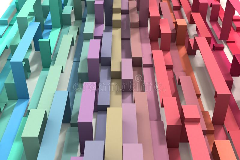 3D illustrerade kul?r geometrisk bandbakgrund f?r den pastellf?rgade regnb?gen arkivfoto
