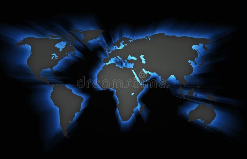 3D-Illyustration continenten op een zwarte achtergrond stock foto