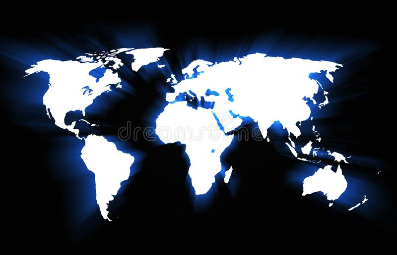 3D-Illyustration continents on a black background. royalty free stock photography