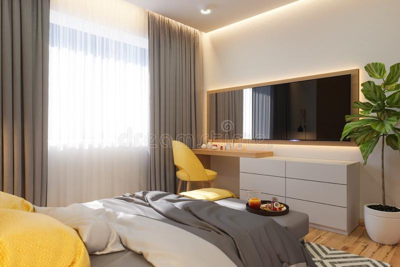 3d ilustração, conceito de design de interiores do quarto Visualização do interior no estilo arquitetónico escandinavo ilustração stock