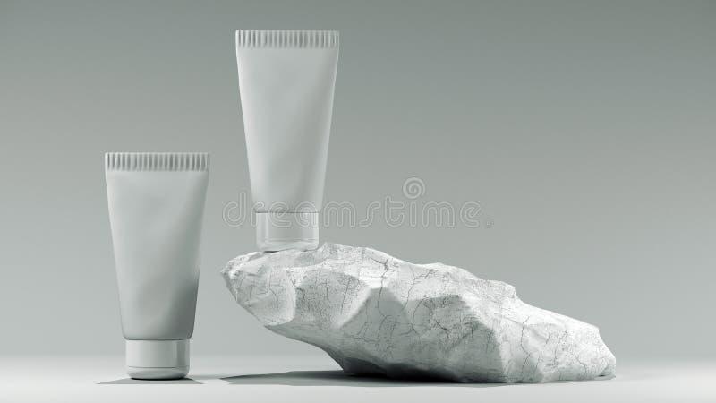 3d ilustração. Concepção do tubo branco em branco em branco num conjunto de visão frontal do perfil de segurança. Suporte tr ilustração stock